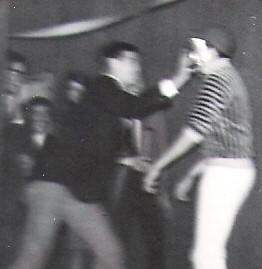 Pie in Face. Bruce and Jon. 1964. Closeup.
